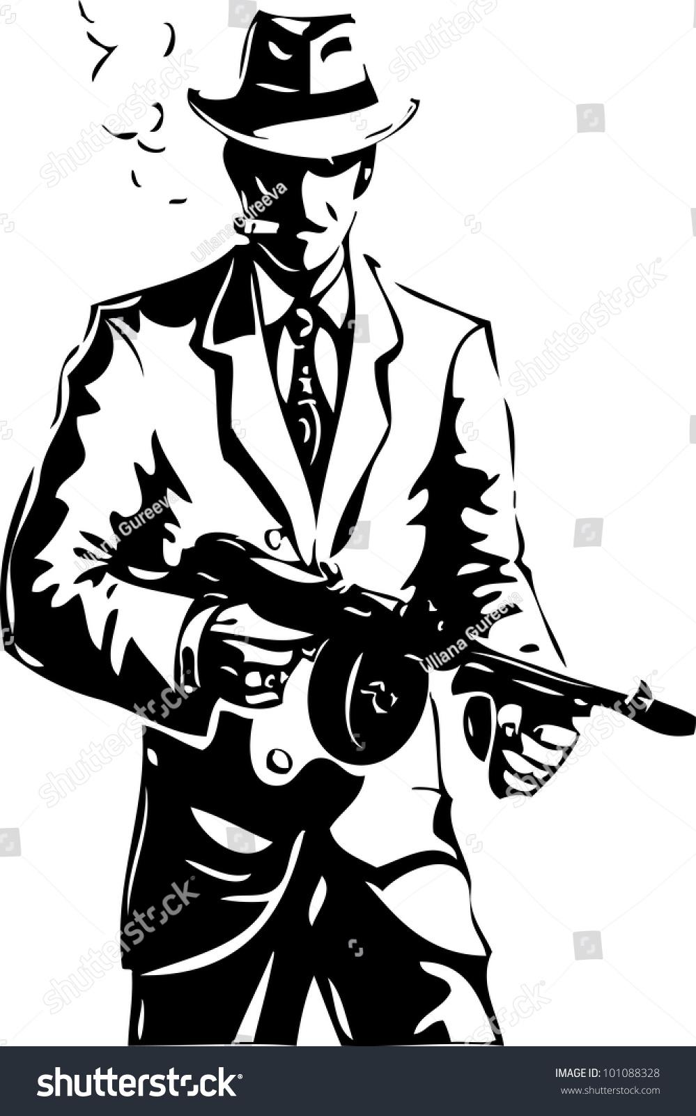 Drawing Gangster Mafia Stock Vector 101088328 Shutterstock