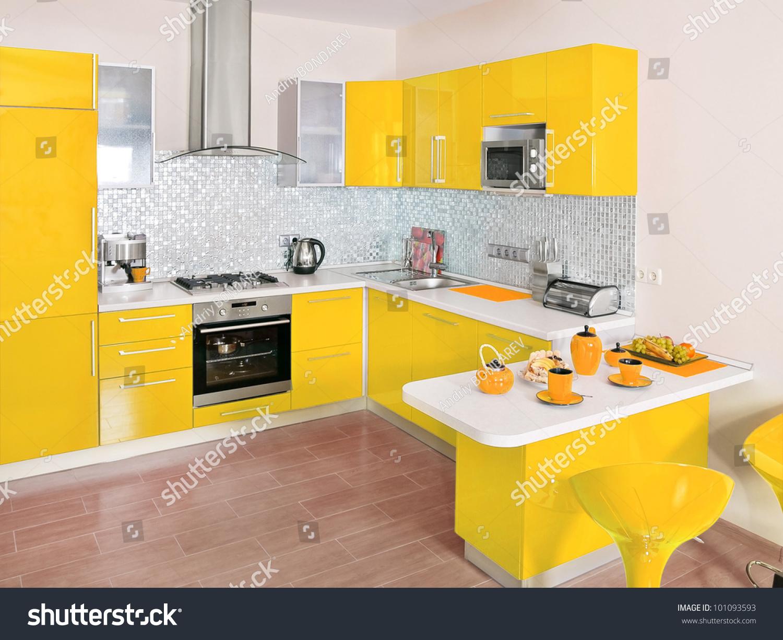 Modern Kitchen Interior Yellow Decoration Stock Photo