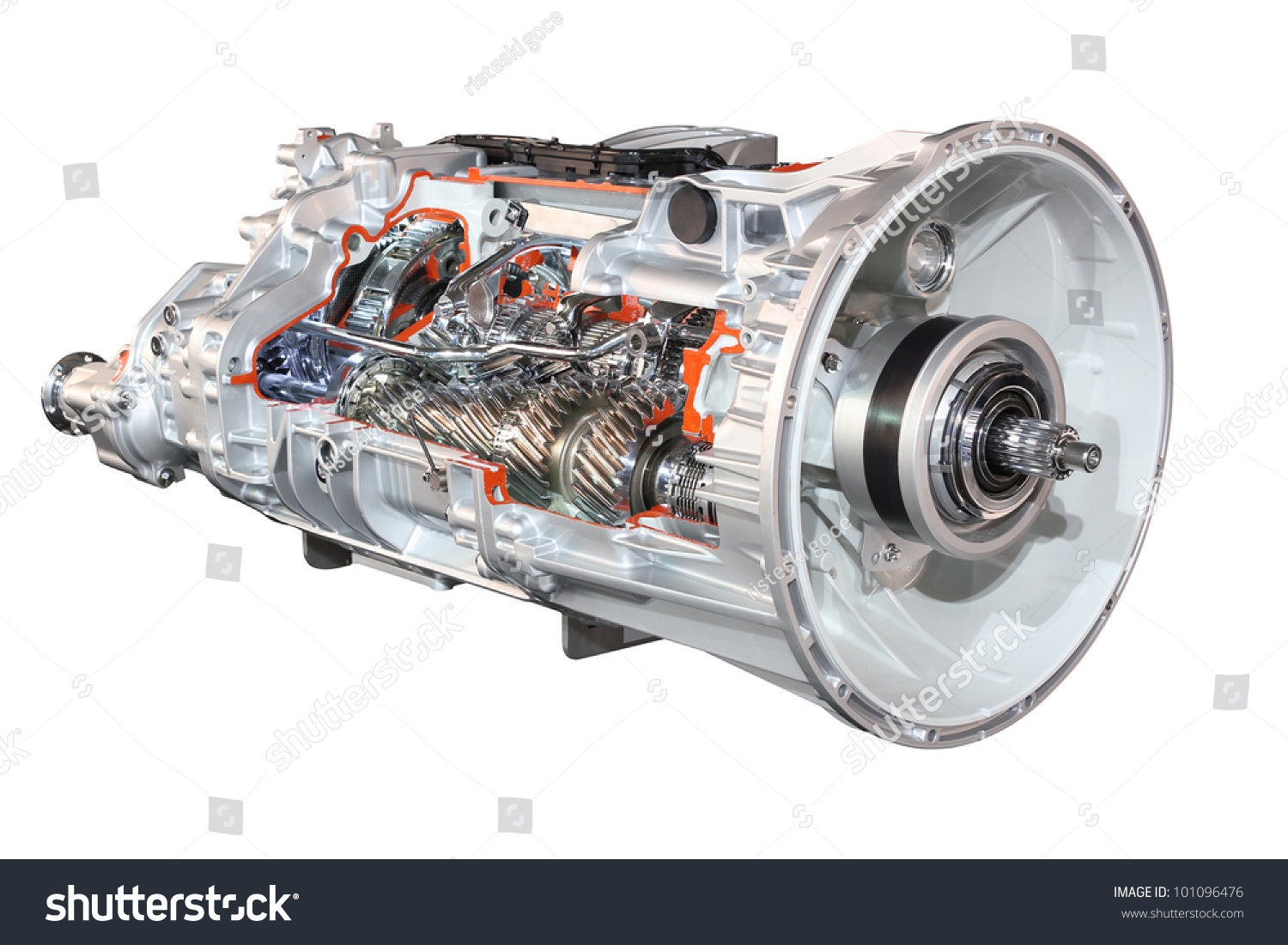 Semi Truck Transmissions : Heavy truck automatic transmission front view stock photo