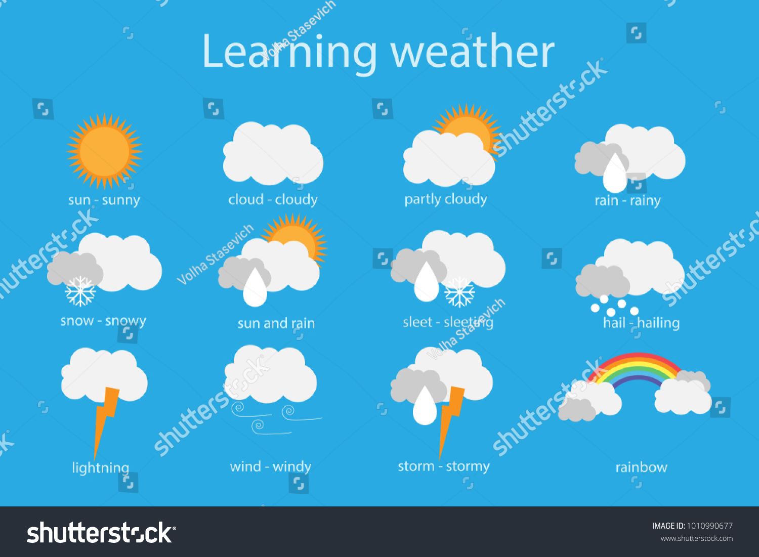 Learning Weather Children Fun Education Game Stock Vector 1010990677 ...
