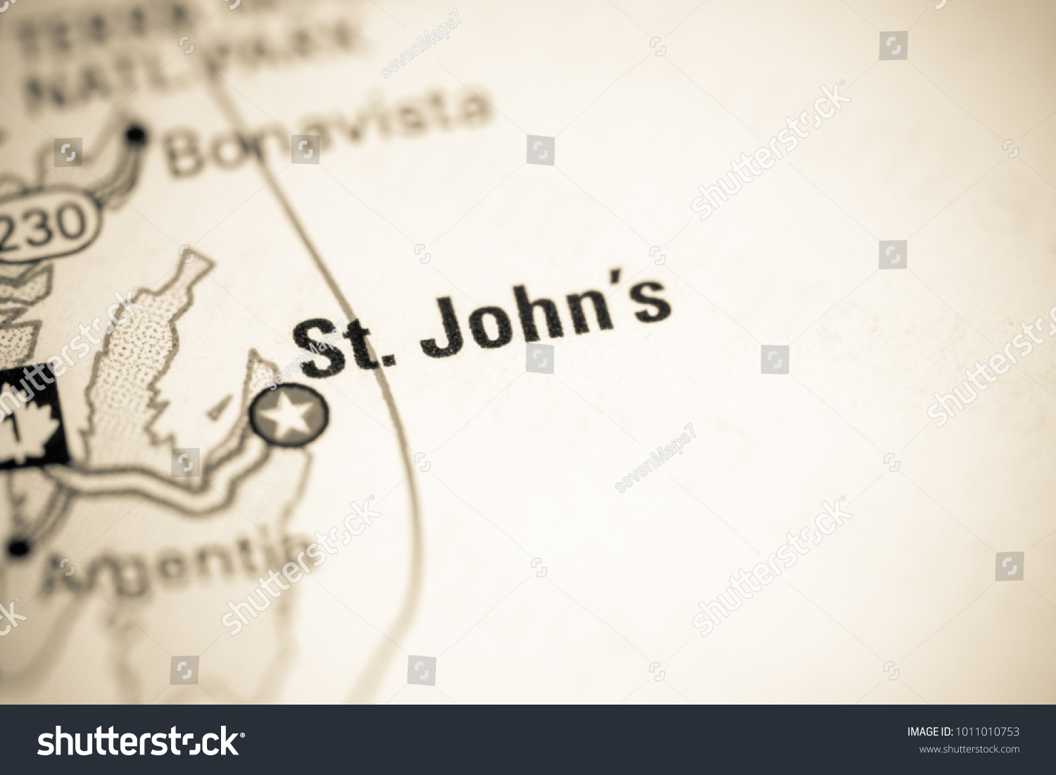 St Johns Canada On Map Stock Photo Edit Now 1011010753 Shutterstock