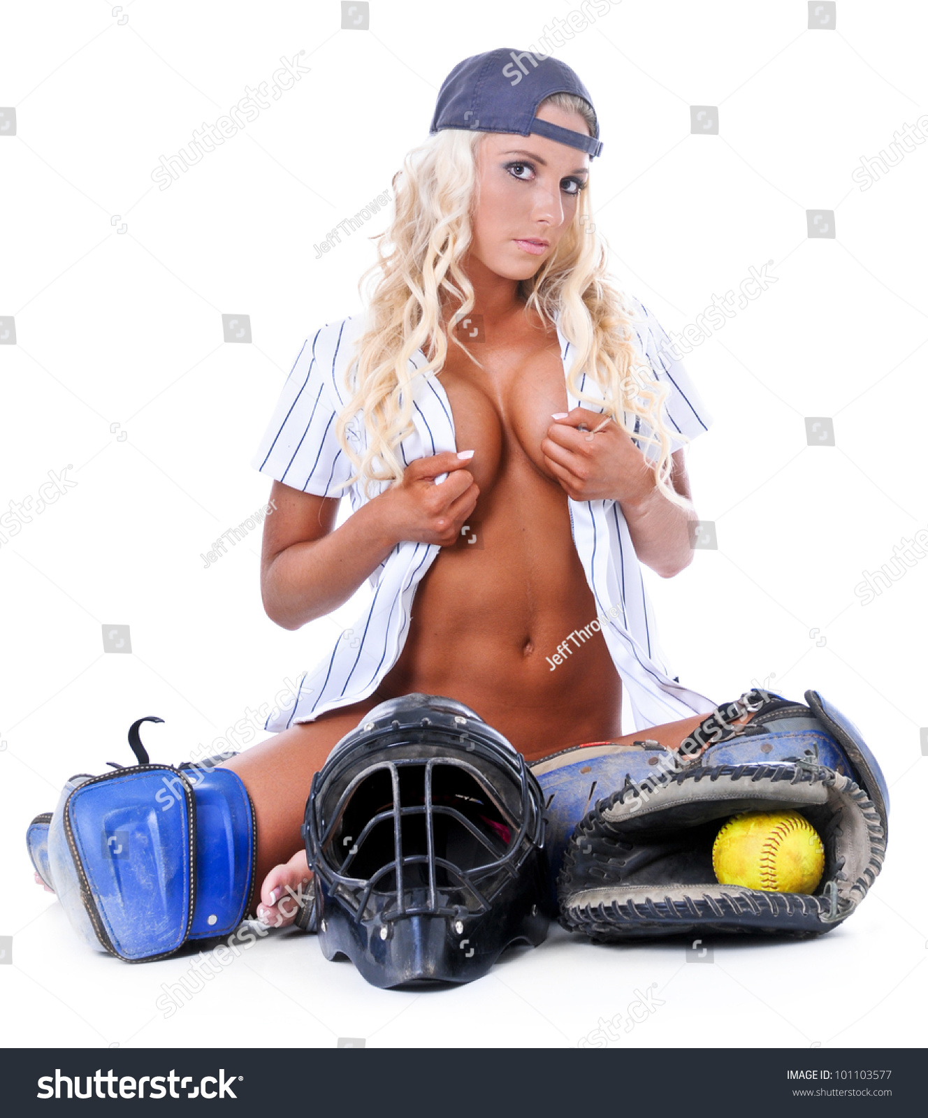 Nude girls wearing baseball cap good