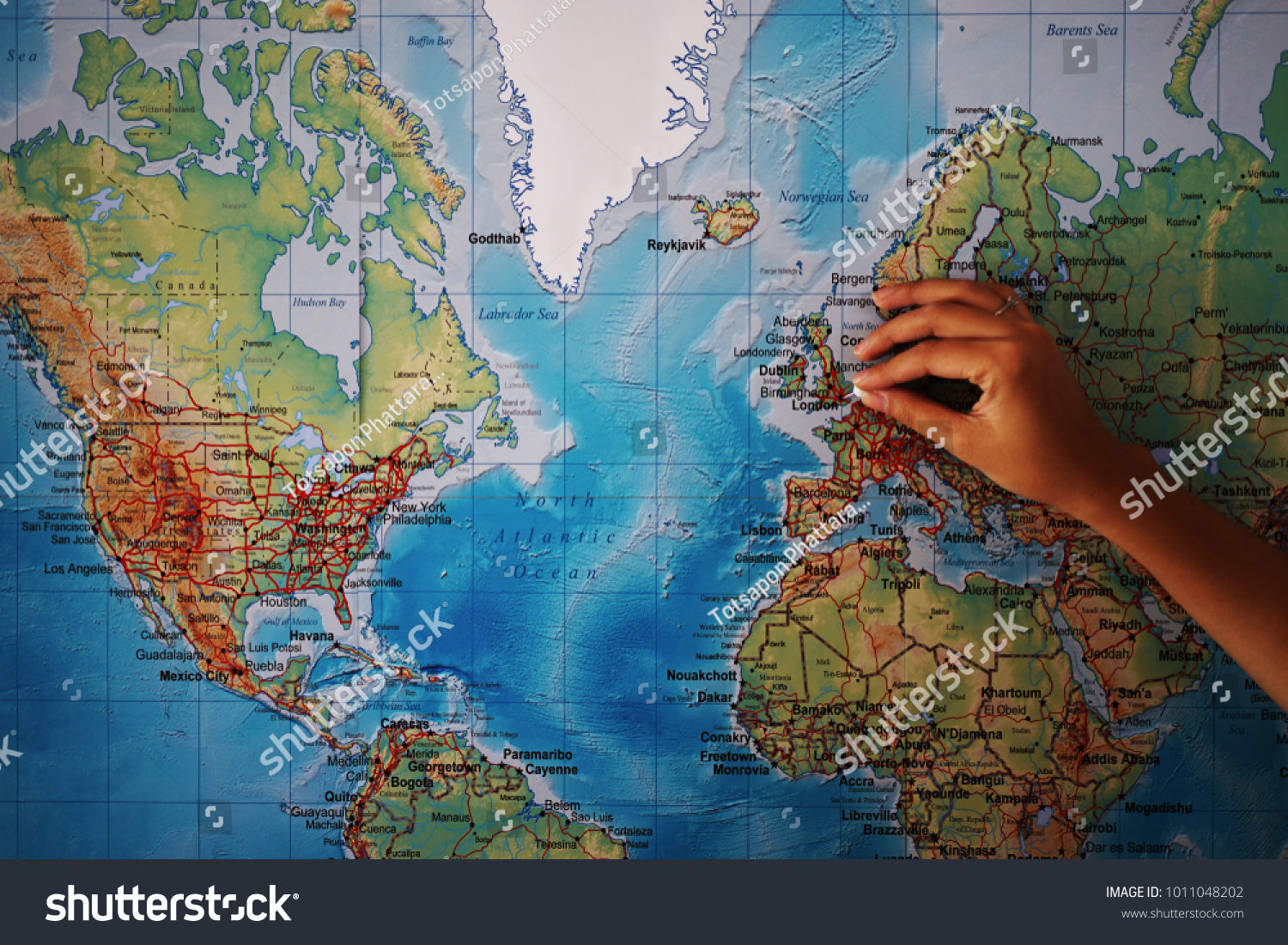 World Map Of England.Close Hand Pointing England World Map Stock Photo Edit Now