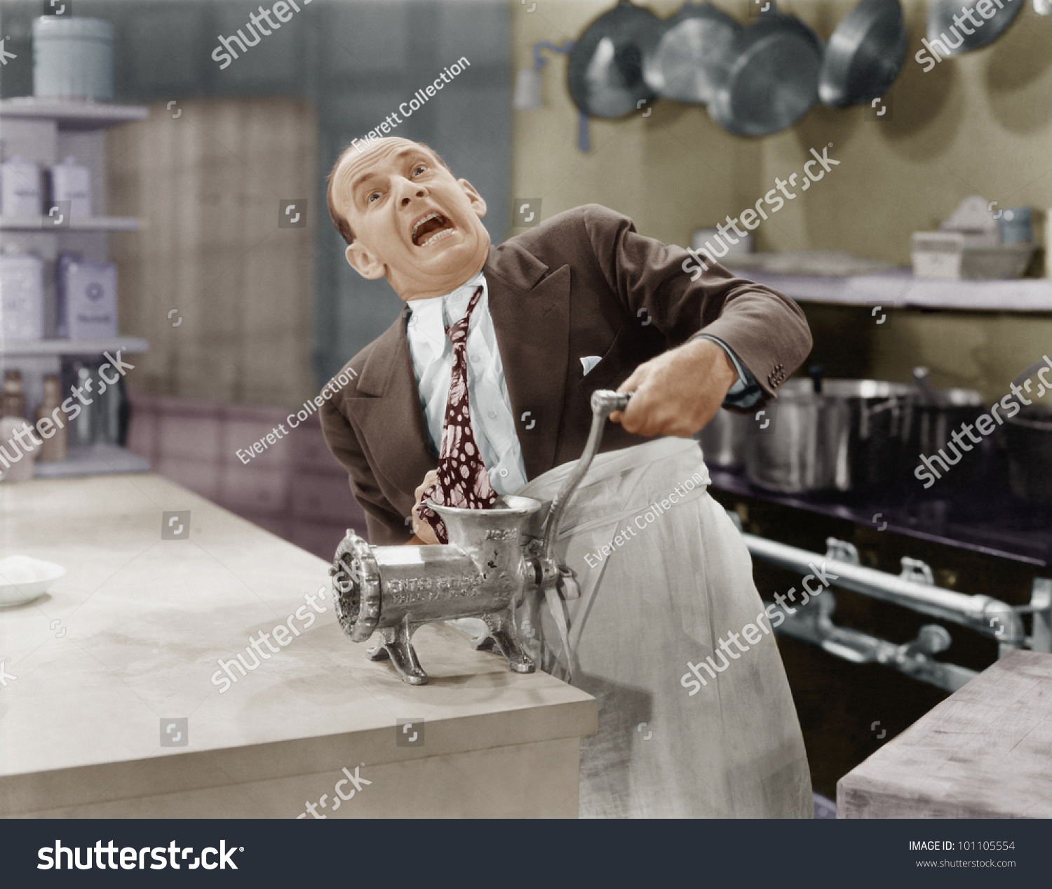 Man Tie Stuck Meat Grinder Stock Photo 101105554