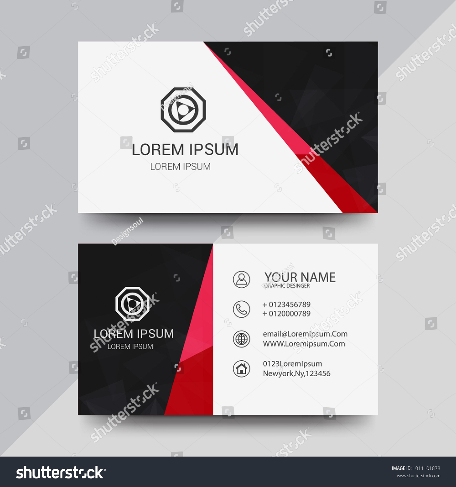 Visiting Card Business Card Set Abstract Stock Vector 1011101878 ...