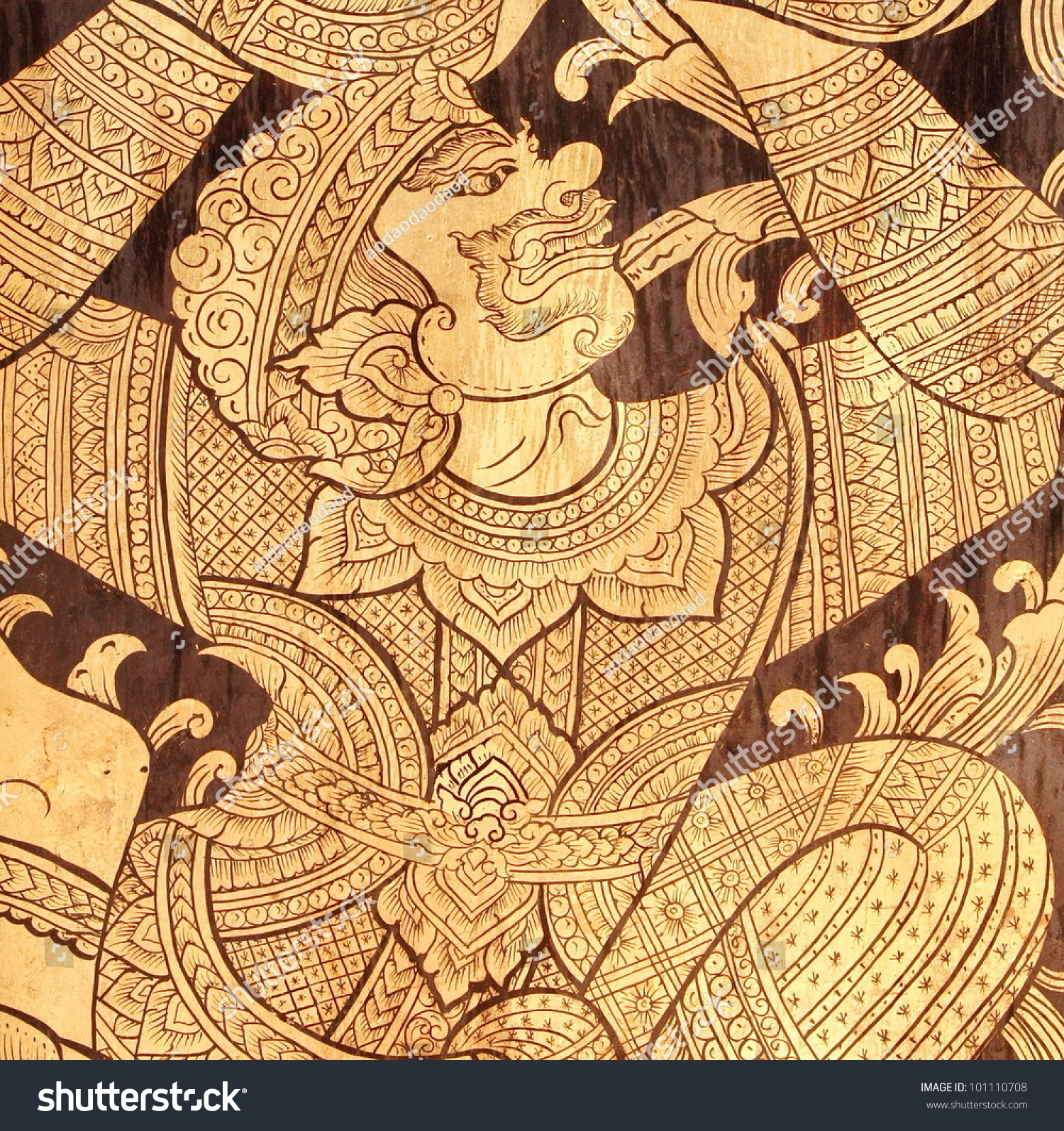 Ancient Thai Art Hanumanmonkey Temple Wall Stock Photo (Royalty Free ...