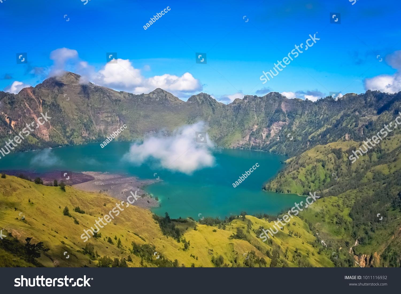 Torquise Lake Inside Caldera Gunung Rinjani Stock Photo (Edit Now