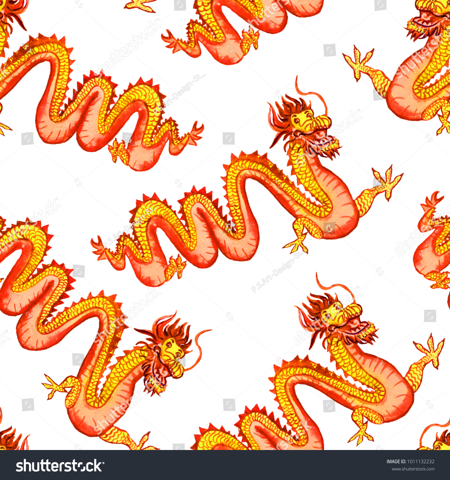 Chinese Long Yellow Red Dragon Symbol Stock Illustration 1011132232