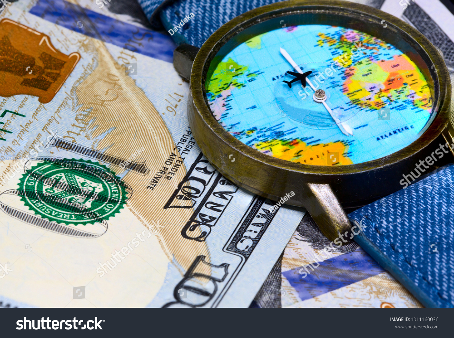 Watch global map on cash money stock photo royalty free 1011160036 watch with global map on cash money world map clock worldwide business concept gumiabroncs Images