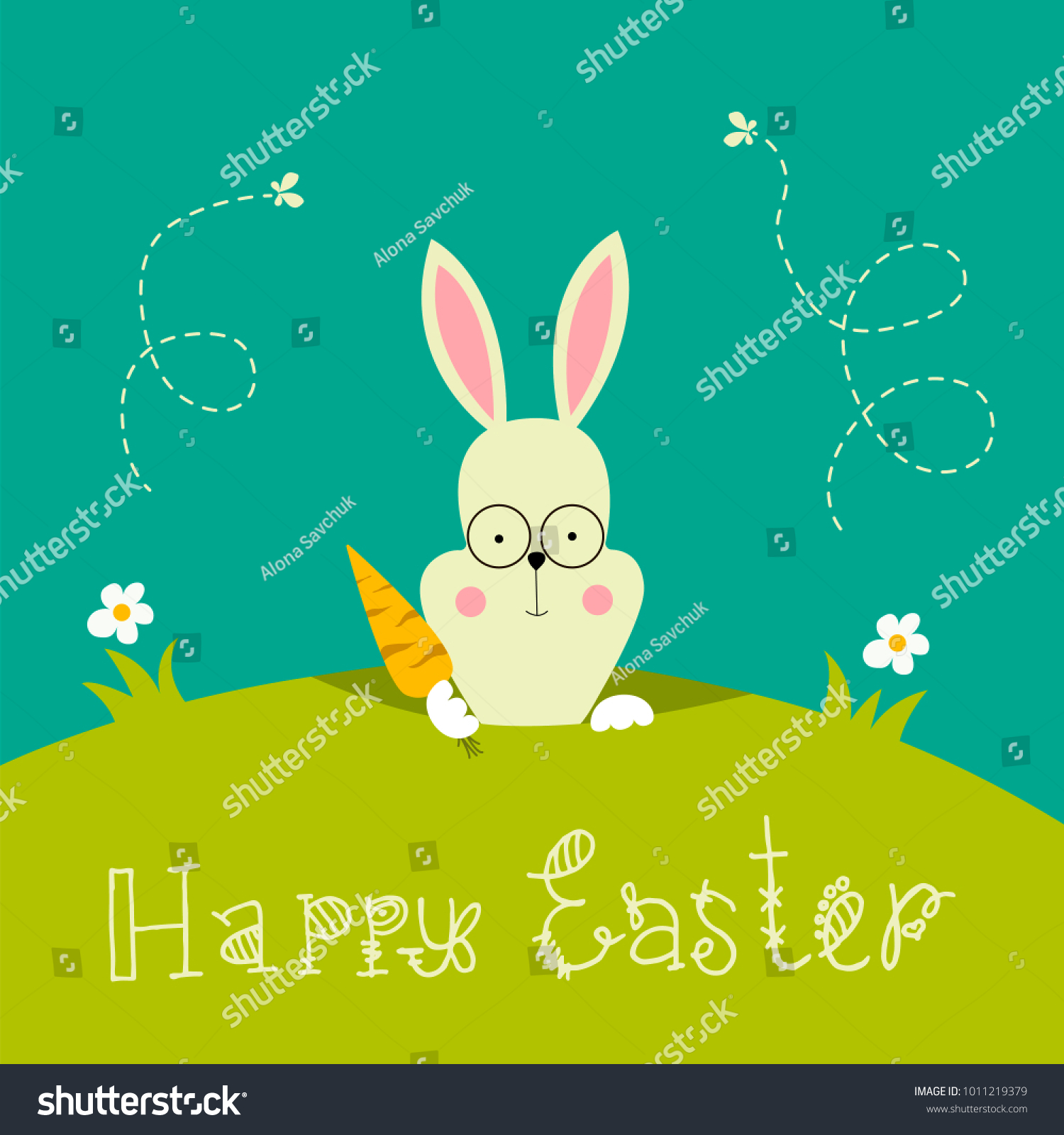 Cute Bunny Easter Rabbit Carrot Colorful Stock Vector Hd Royalty