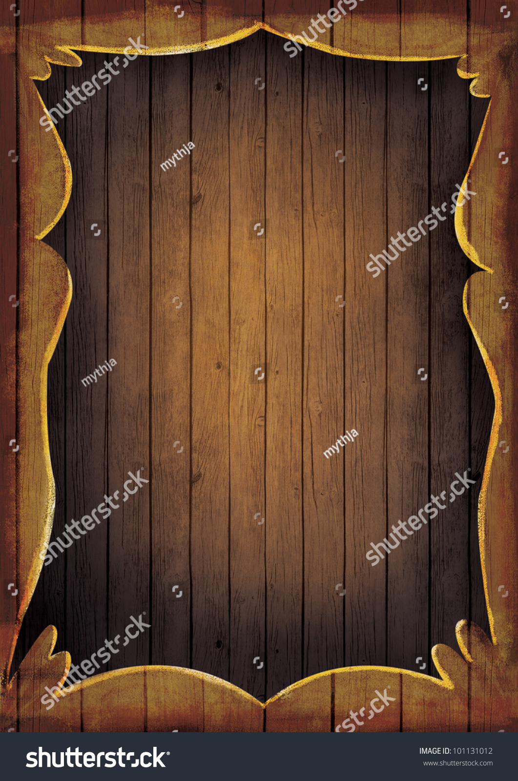 Wooden Frame Illustration Artistic Hand Painted Stock Photo (Royalty ...