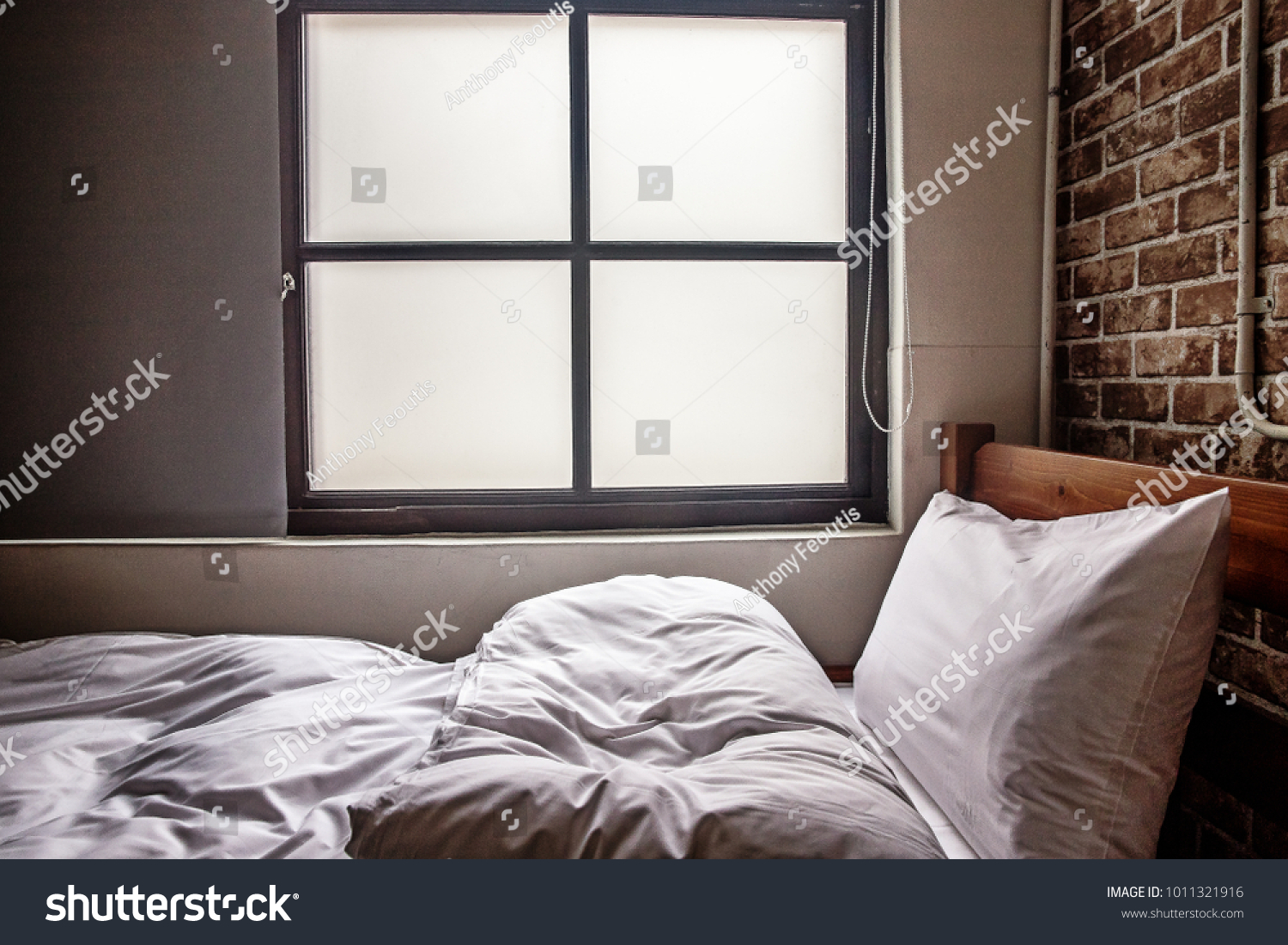 White Bed Front Window Stock Photo Edit Now 1011321916