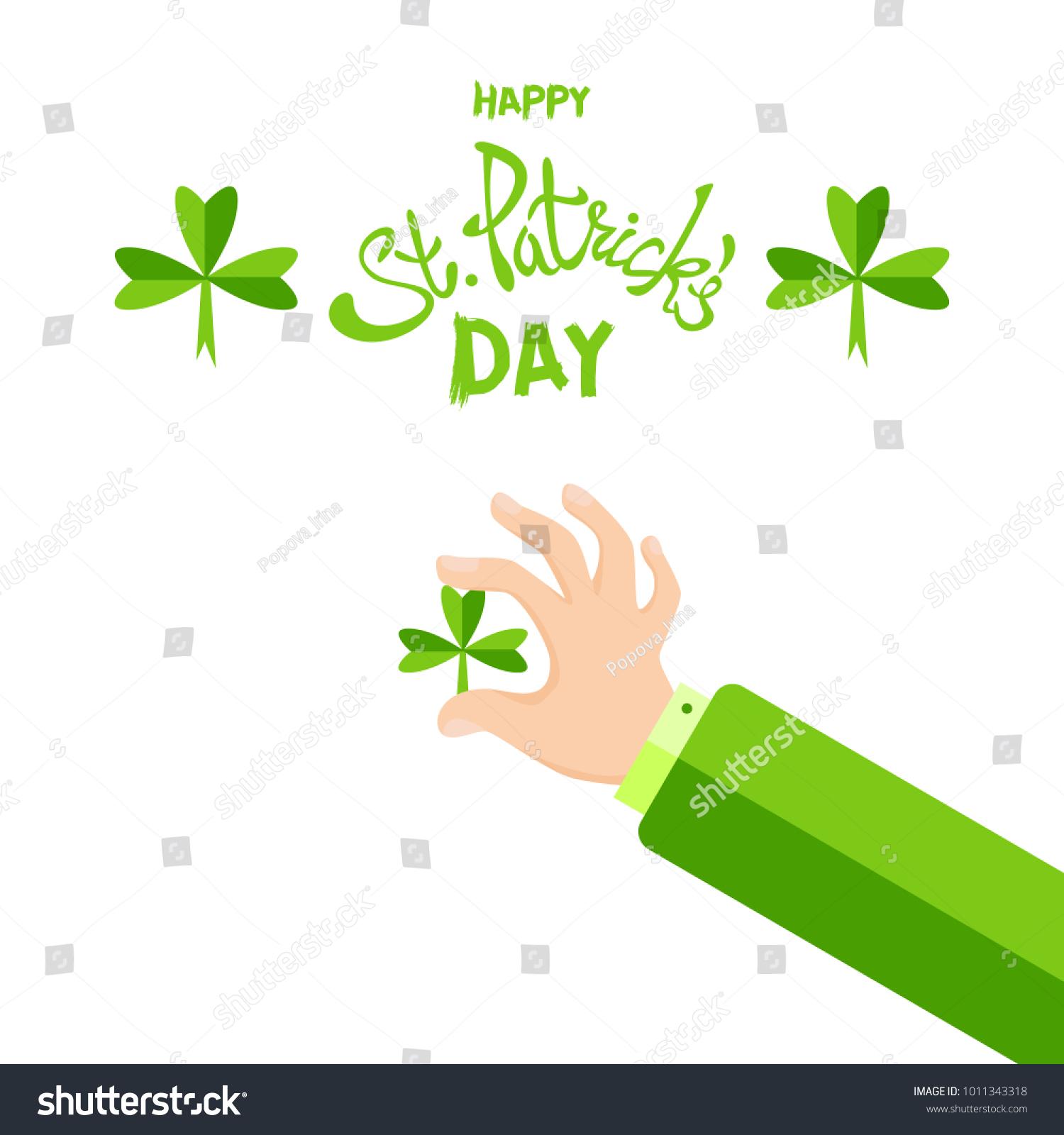 Happy St Patricks Day Card Words Stock Vector 1011343318 Shutterstock