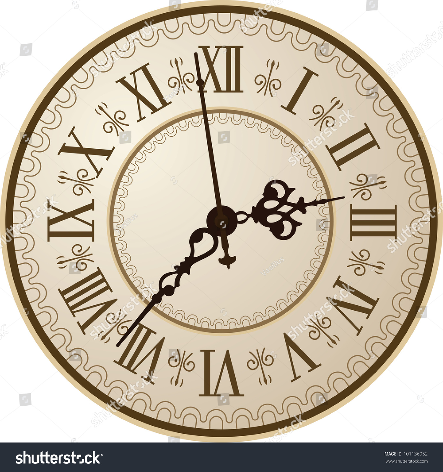 Antique Clock Vector Illustration Stock Vector 101136952