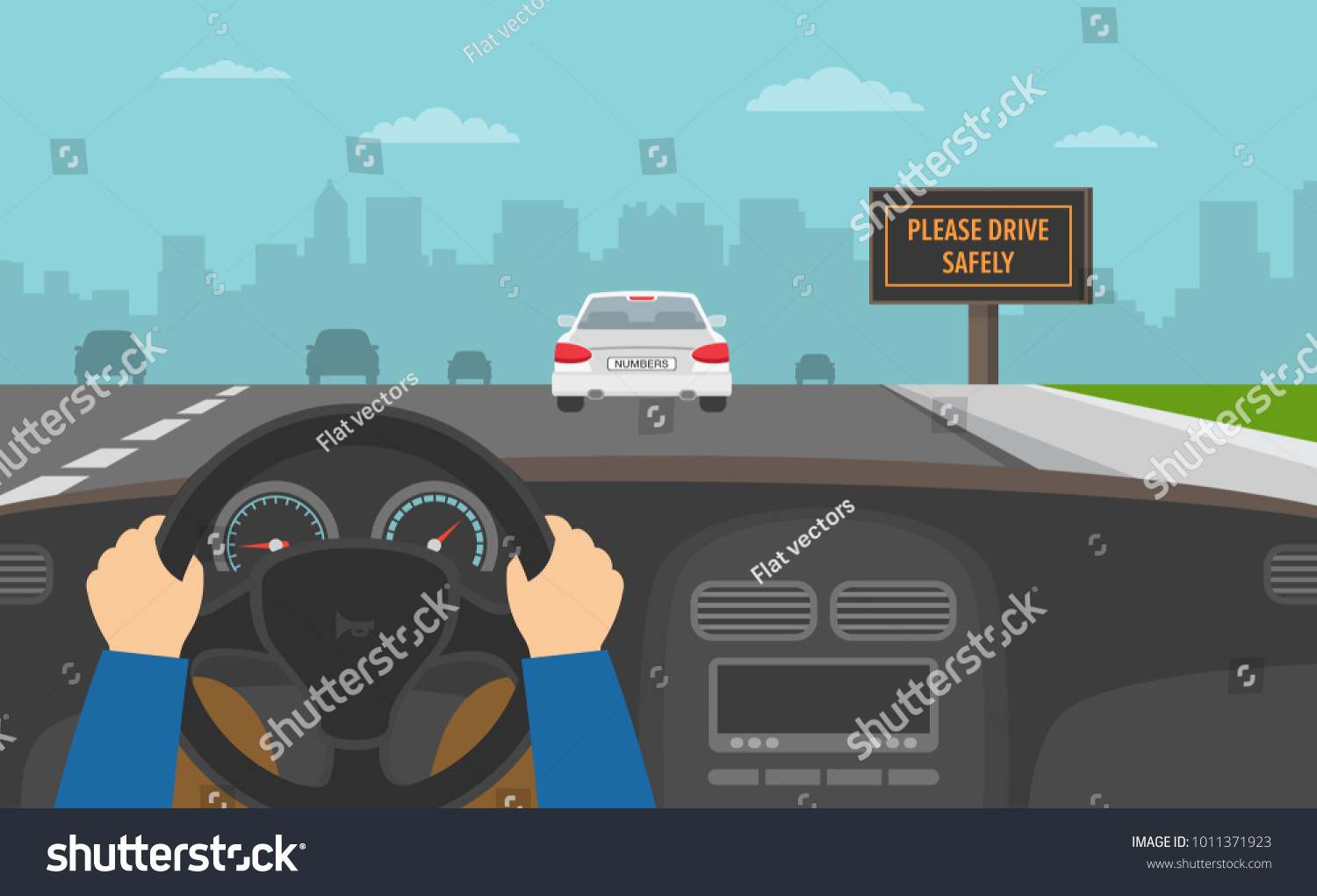 Hands driving a car on the highway. Drive safely warning billboard. Flat vector illustration.