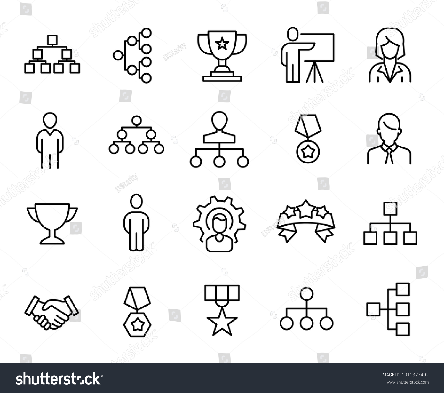 Simple Collection Leadership Related Line Icons Stock Vector