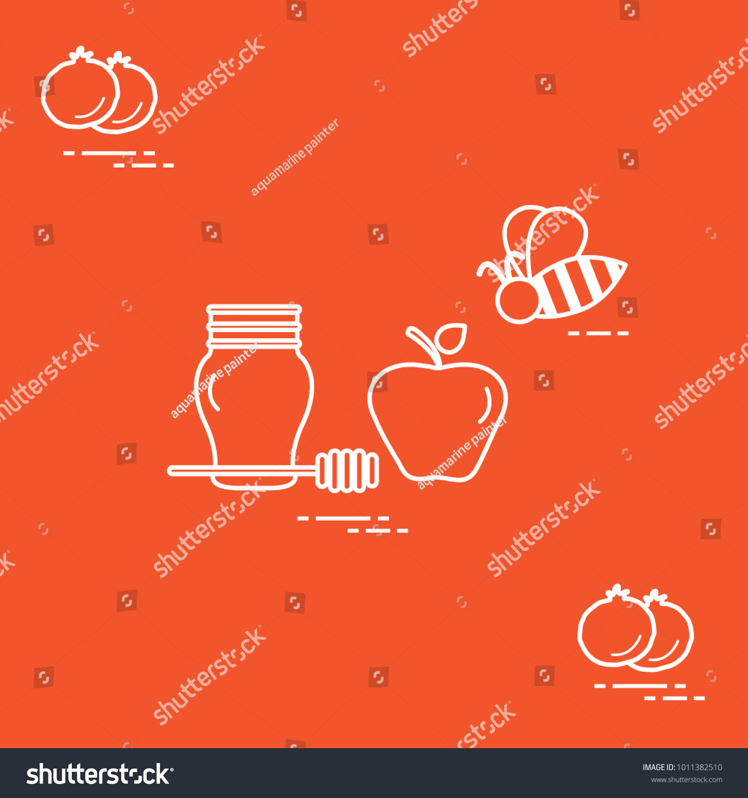 Apple honey rosh hashanah pomegranate bee stock vector 1011382510 apple in honey in rosh hashanah pomegranate bee traditional jewish food and symbols biocorpaavc