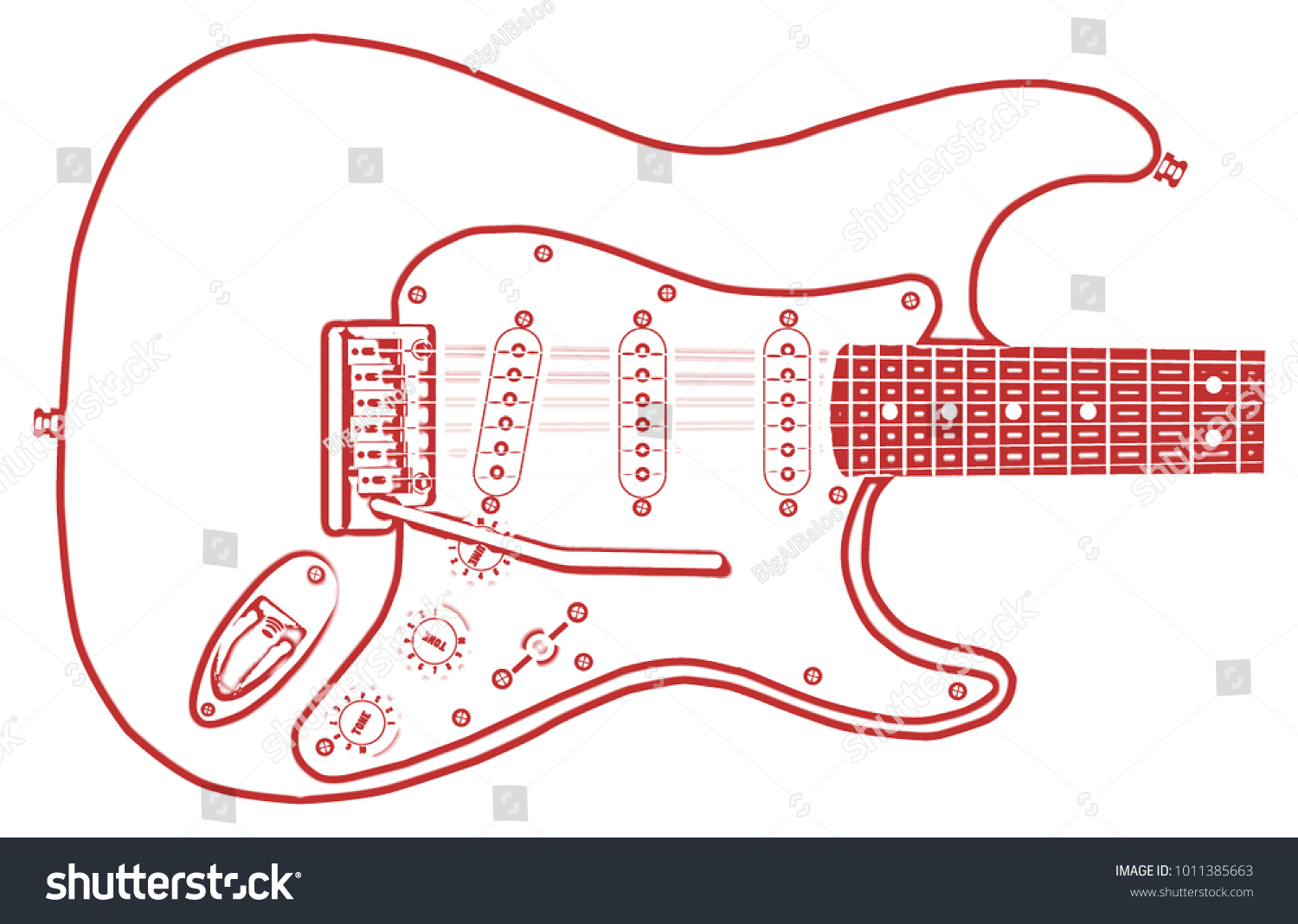 Outline Drawing Typical Electric Guitar On Stock Illustration