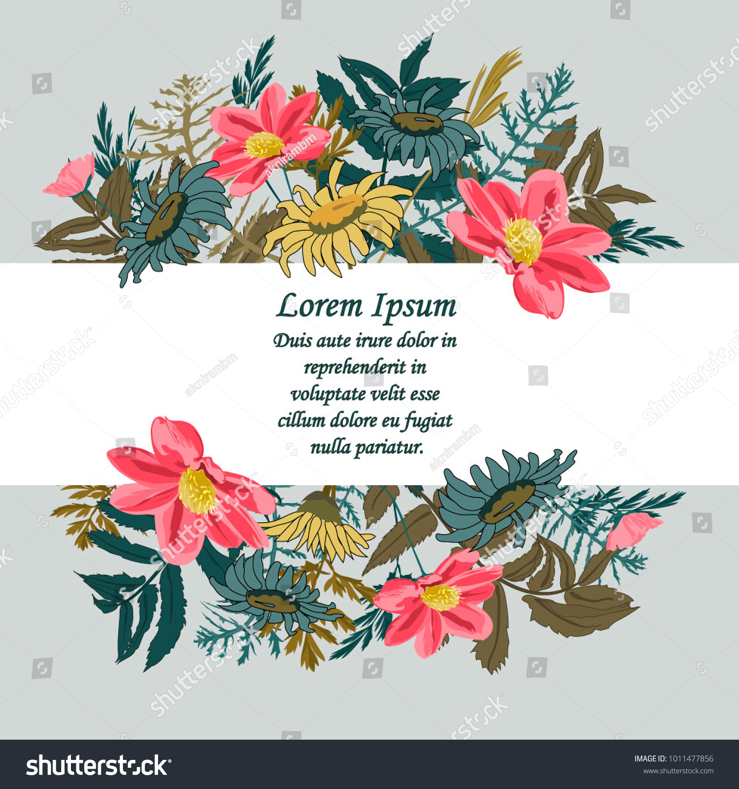 Vector illustration beautiful floral frame colorful stock vector vector illustration of a beautiful floral frame with colorful wild flowers for birthday wedding izmirmasajfo