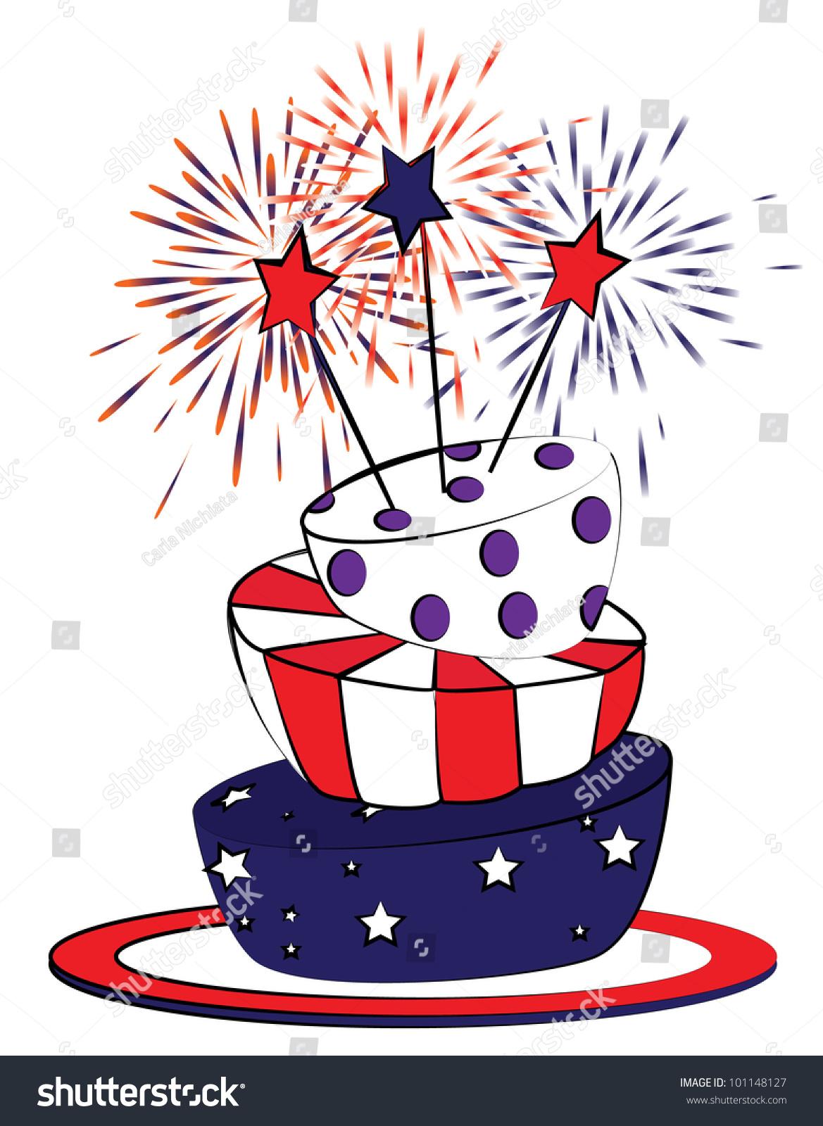 American Cake Cartoon Vector Fourth July Stock Vector