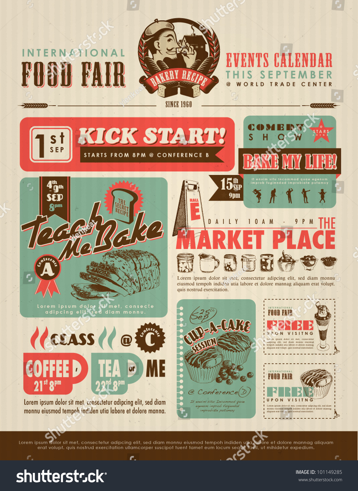 Retro Food Advertisement Layout Design Template Stock