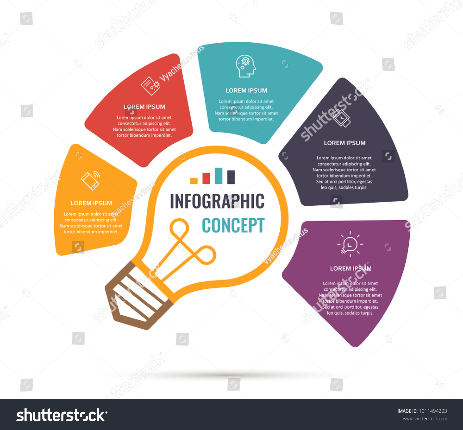Vector Idea Light Bulb Circle Infographic Stock Royalty Free Partslightbulbdiagram Template For Graphs Charts Diagrams Business Concept