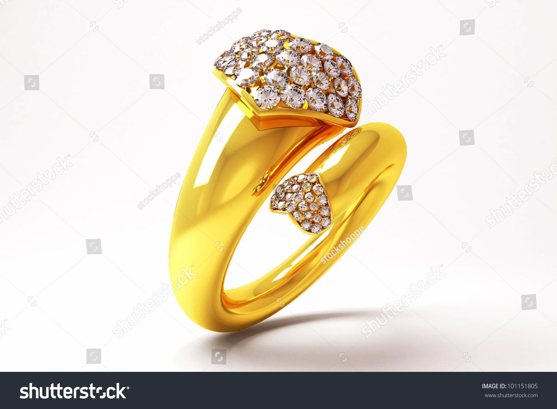 3d Image Gold Ring Heart Shape Stock Illustration 101151805 ...