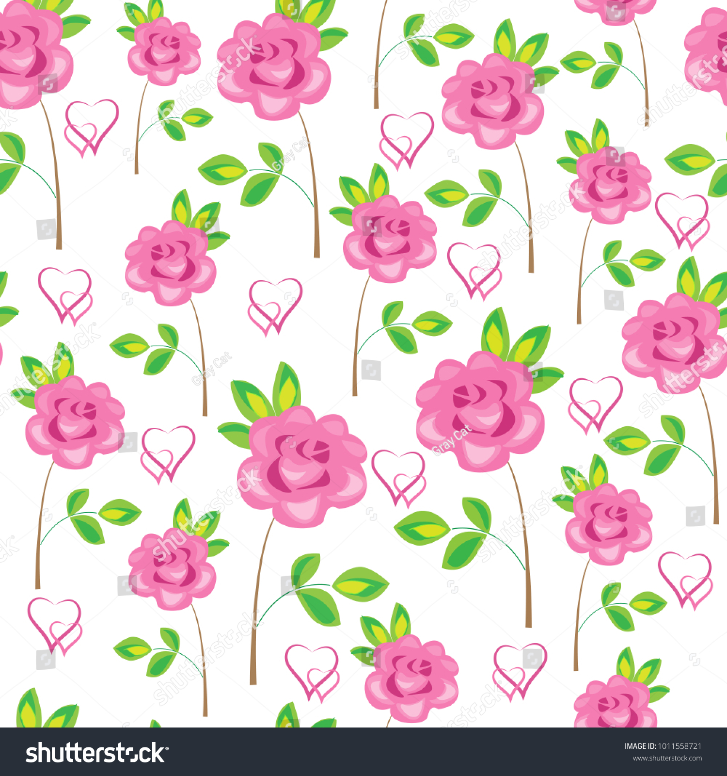 Seamless Pattern Pink Flowers Roses Hearts Stock Vector Royalty