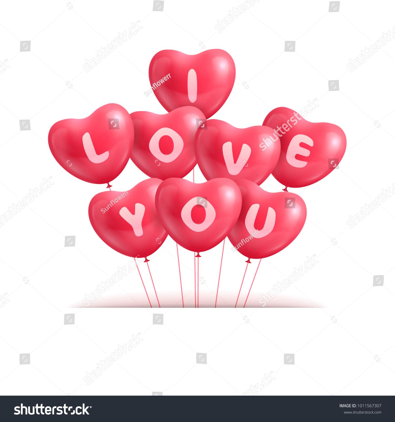 Hearts Ballon Realistic Valentine Declaration Love Stock ...