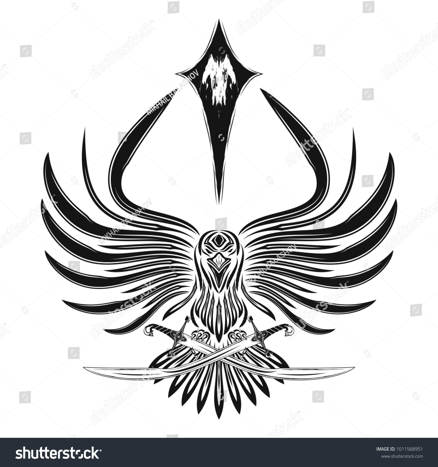 Vector Image Raven Open Wings Crossed Stock Vector Royalty Free