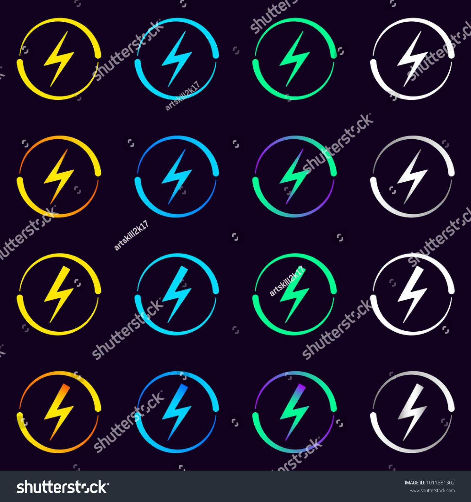 Collection Electrical Signs Vector Illustration Electric Stock