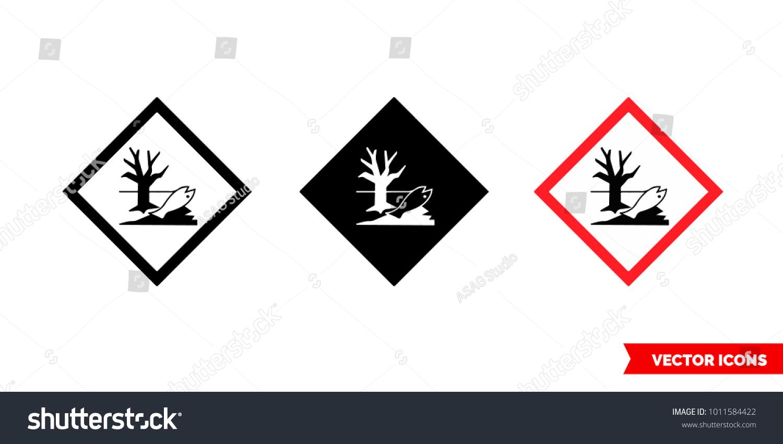 Environmental Hazard Icon 3 Types Color Stock Vector Royalty Free