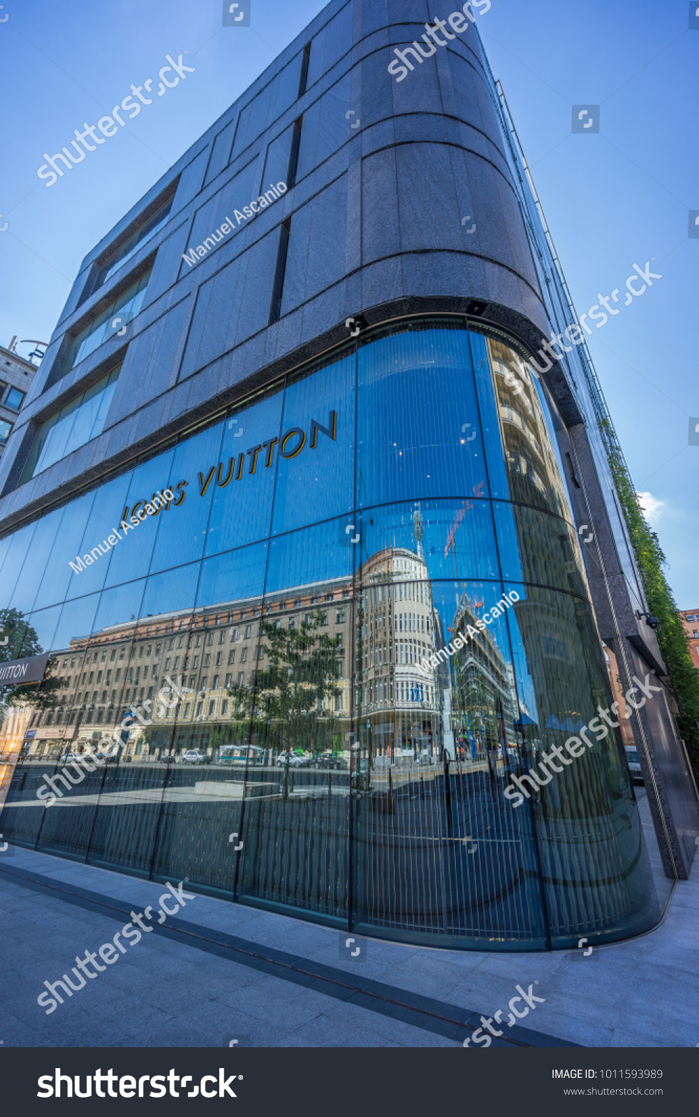 58c4320b09d08 Warsaw, Poland - July 24, 2017 : Reflections on the facade of Louis Vuitton
