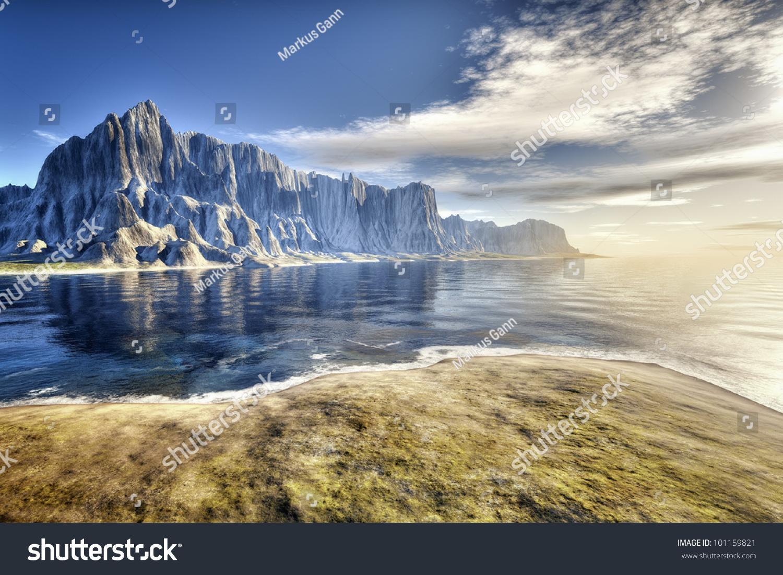 image nice beach scenery background stock illustration 101159821