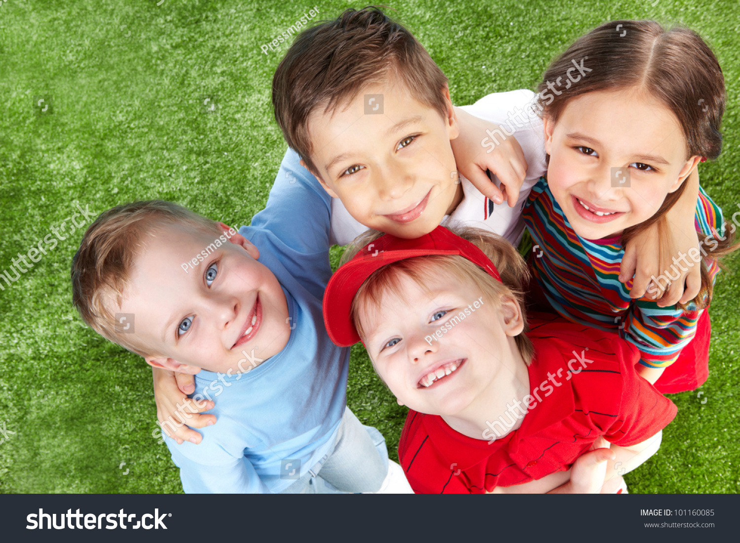 above view cute children hugging smiling stock photo (royalty free