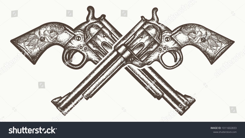 crossed guns tattoo tshirt design wild stock vector royalty free