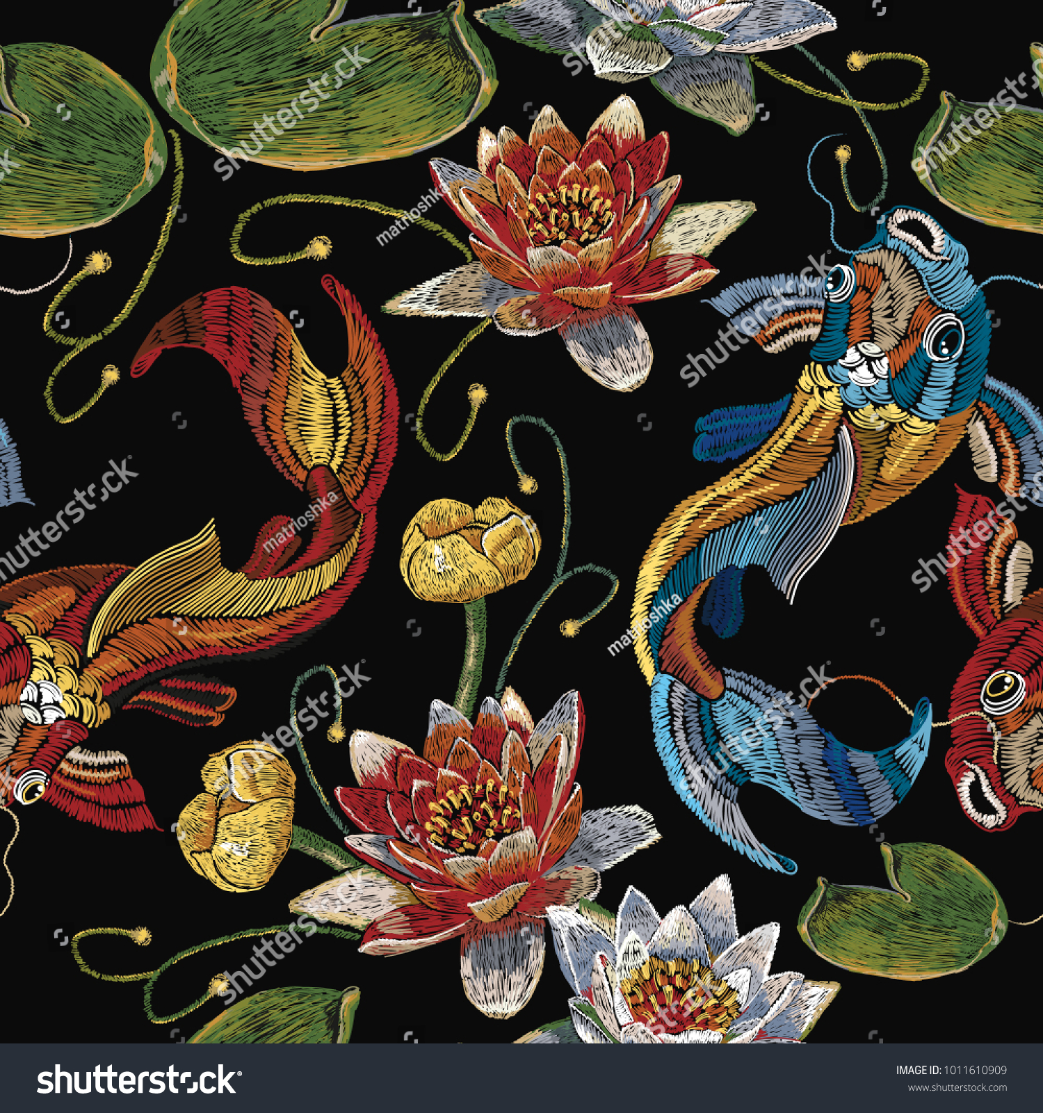 Embroidery koi fish and water lily seamless pattern japanese pattern classical embroidery koi carp