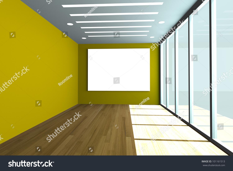 Office Interior Rendering Empty Room Color Stock Illustration ...