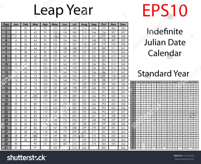 Julian Leap Year Calendar : Indefinite julian date calendar stock vector royalty free