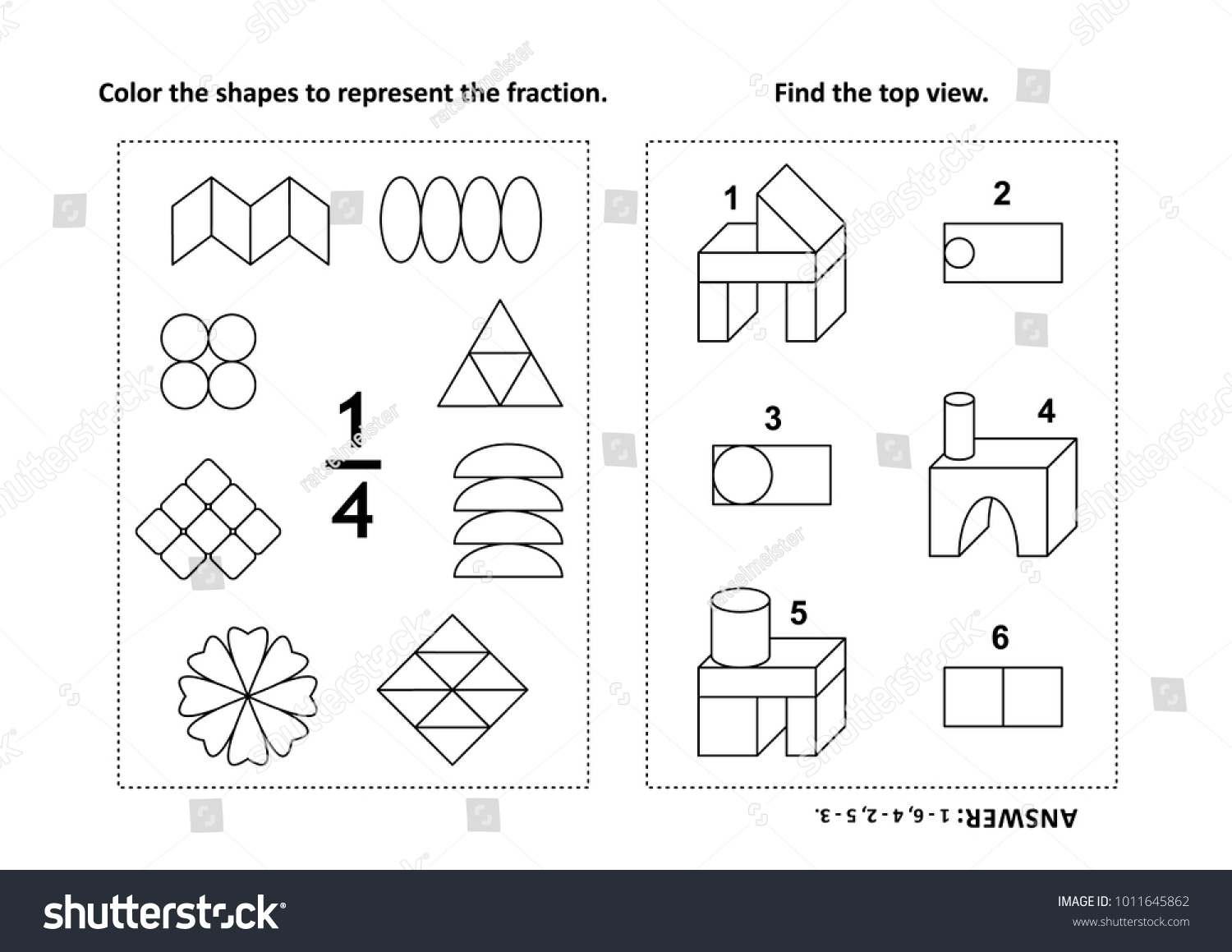 Two Visual Math Puzzles Coloring Pages Stock Vector 1011645862 ...