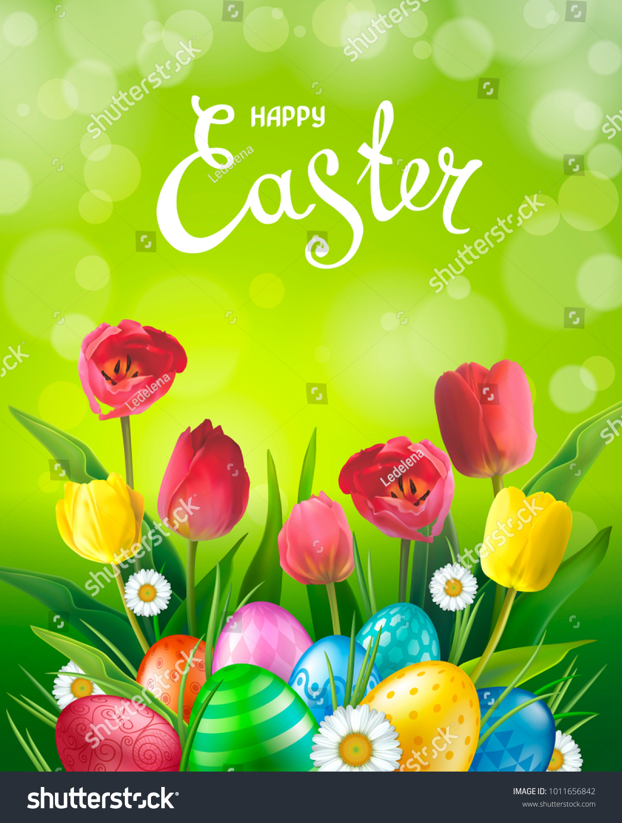 Easter Greeting Card Realistic Glossy 3 D Stock Vector Royalty Free