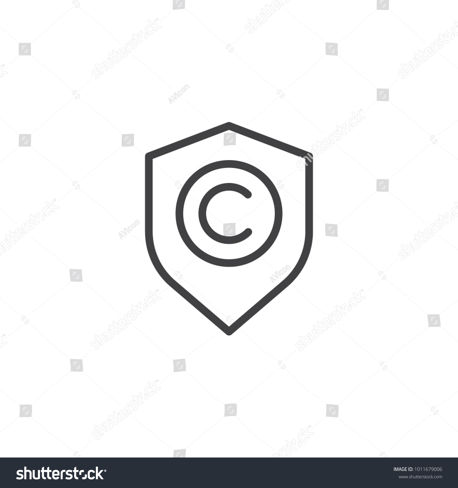 Shield Copyright Sign Line Icon Outline Stock Vector Royalty Free