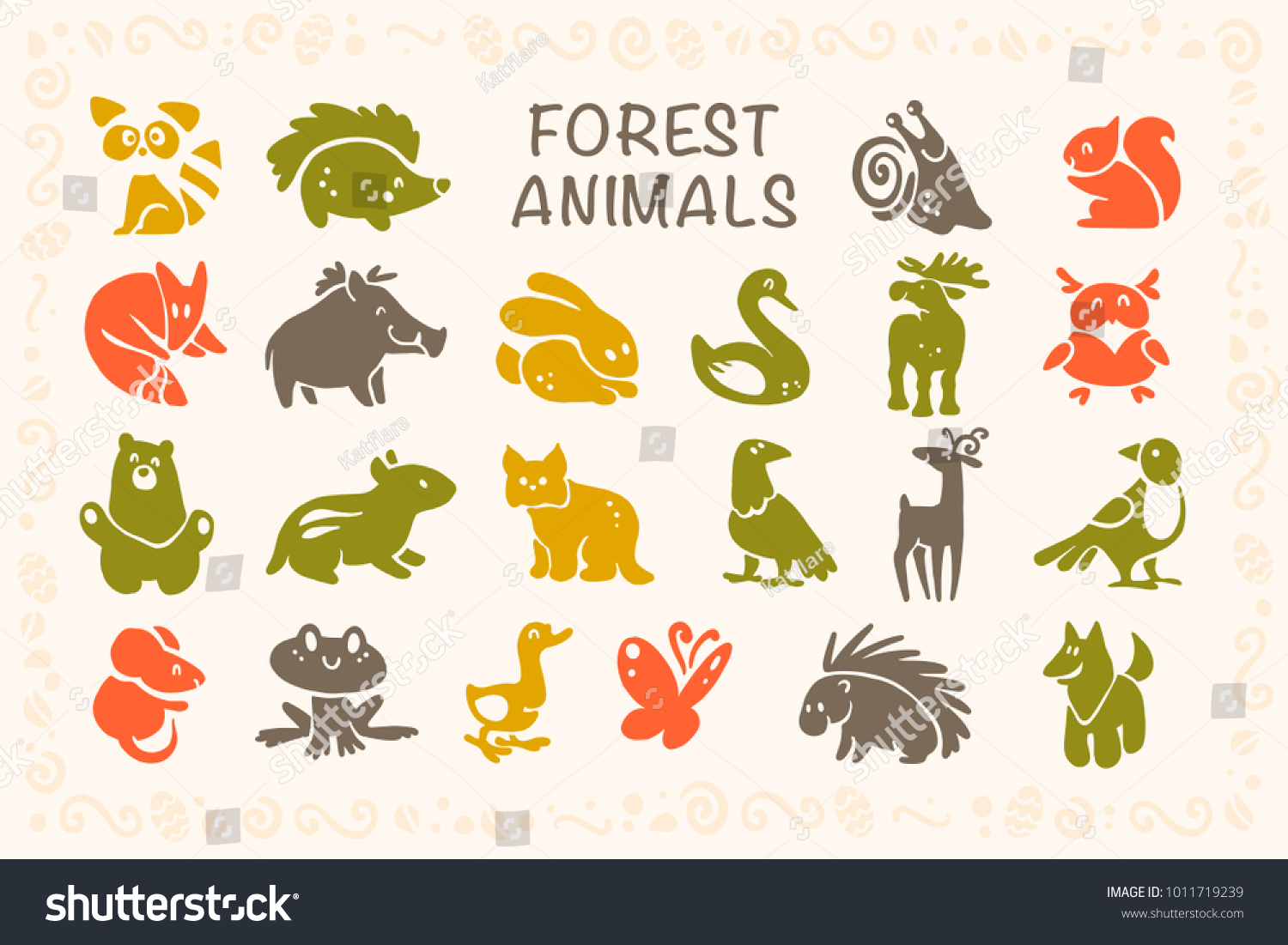 7b2e4a216aae7 Vector collection of flat cute animal icons isolated on white background.  Forest animals and birds symbols. Hand drawn emblems. Perfect for logo  design