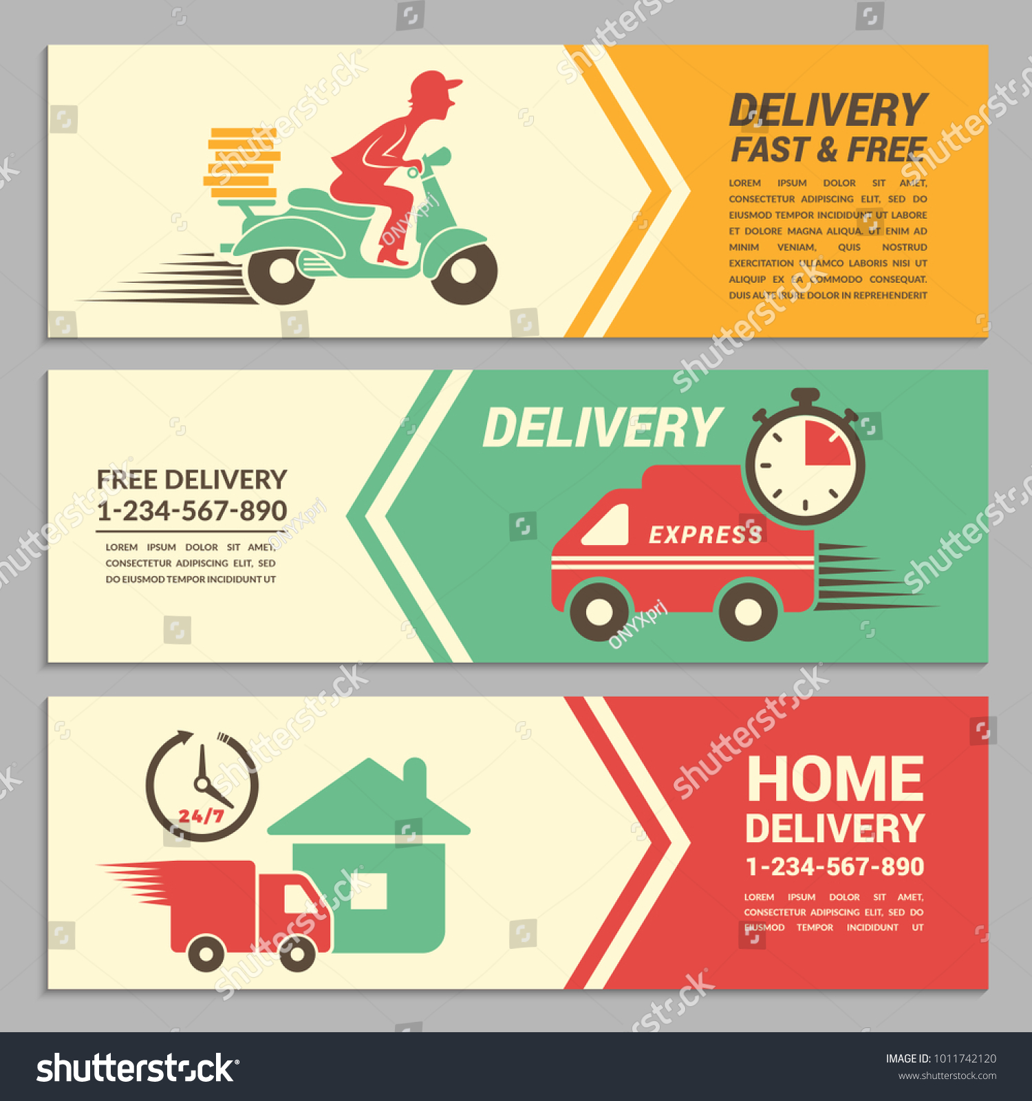 Vector Banners Design Template Fast Delivery Stock Vector (2018 ...