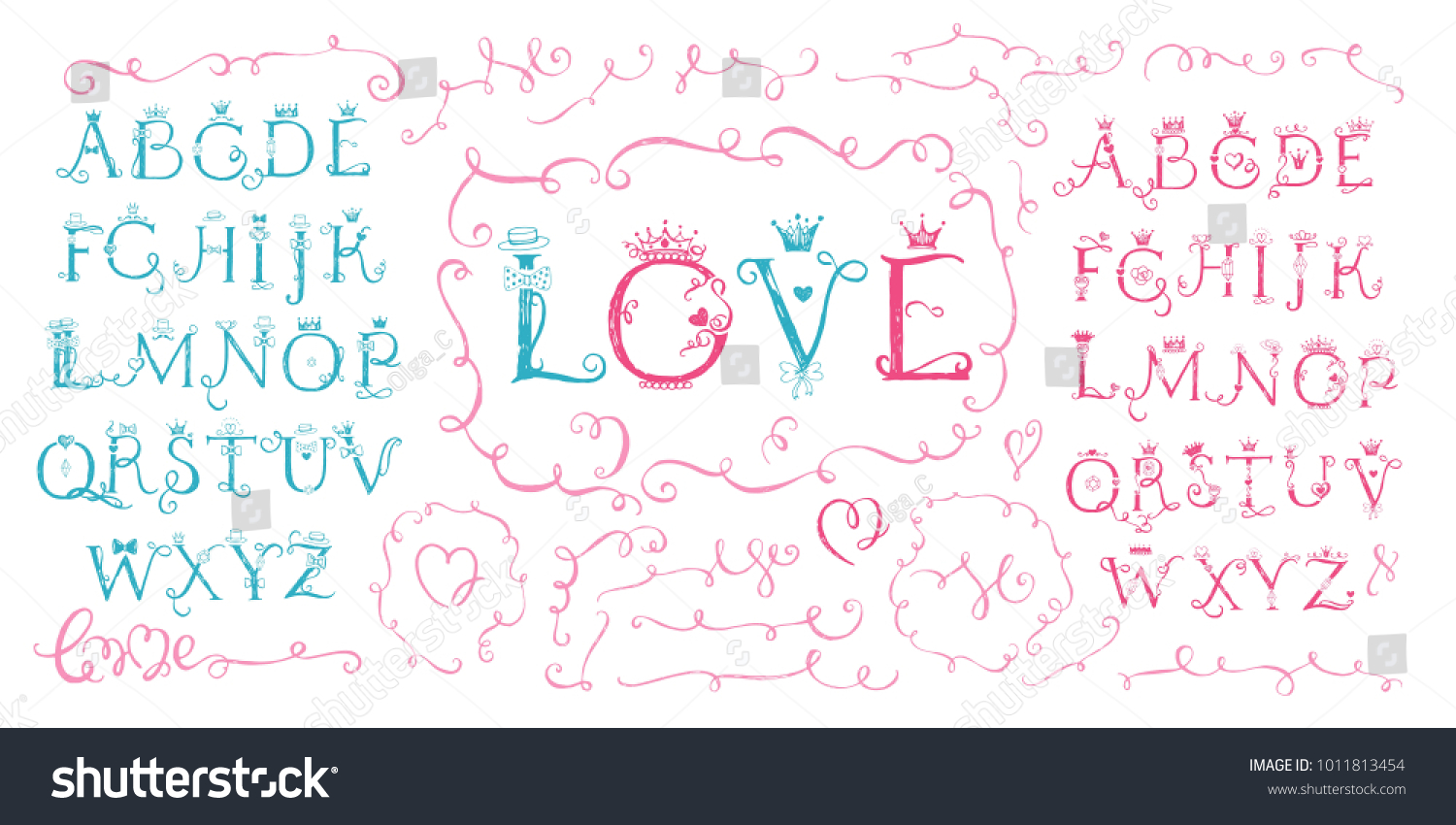 Set Hand Drawn Cute Alphabet Letters Stock Vector Royalty Free