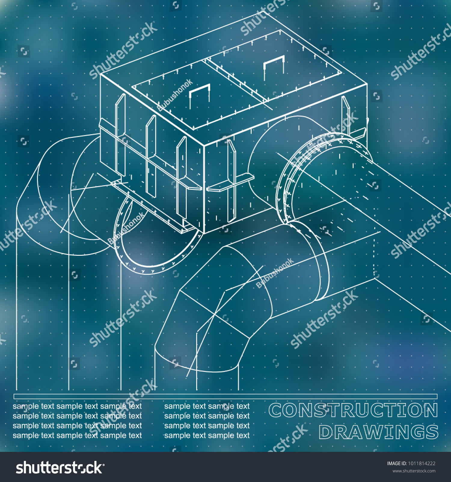 Drawings Steel Structures Pipes Pipe 3 D Stock Vector Royalty Free Piping Schematic Drawing Of And 3d Blueprint Blue