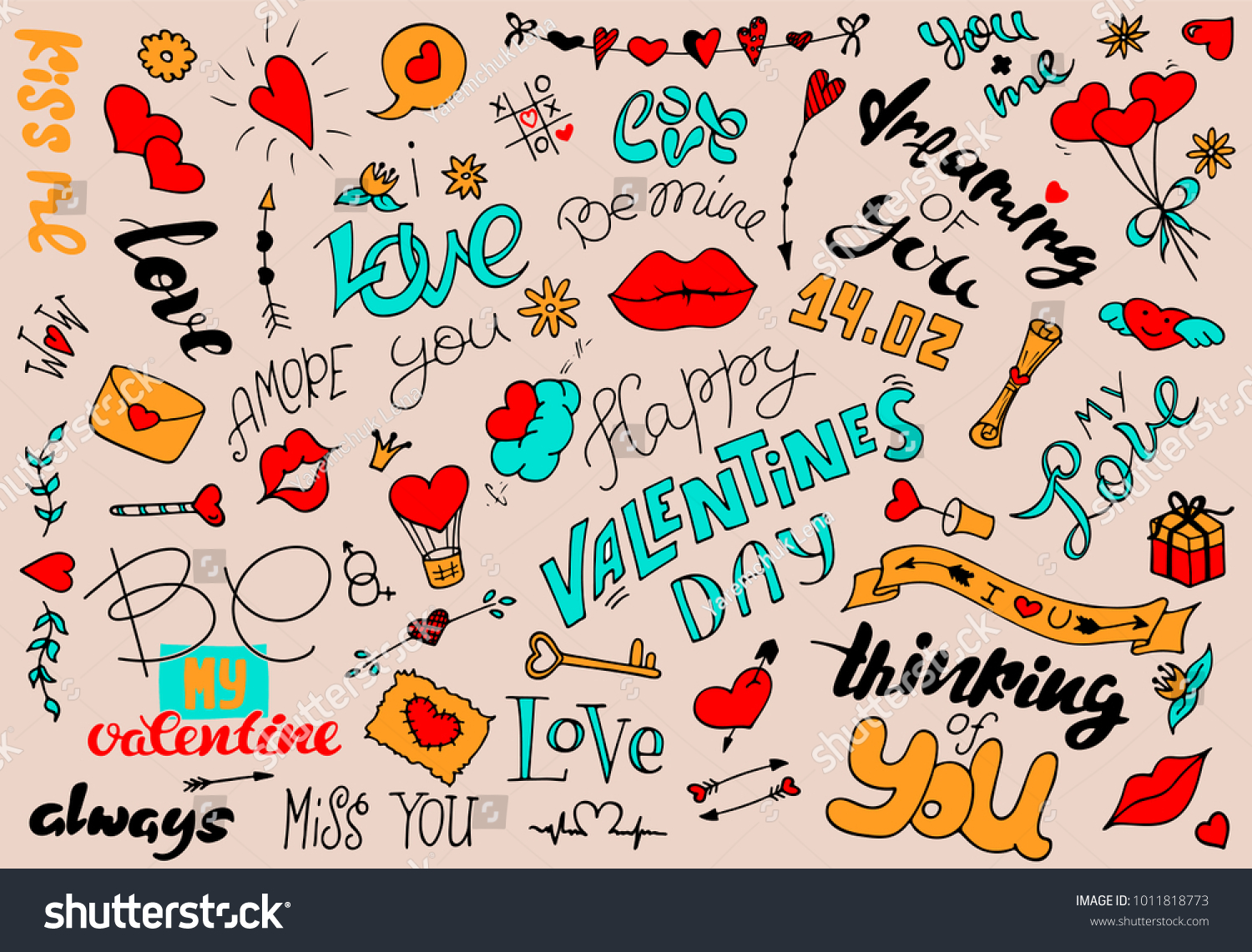 A Set Of Simple Drawings In Doodle Style For Valentineu0027s Day. Collection Of  Elements For