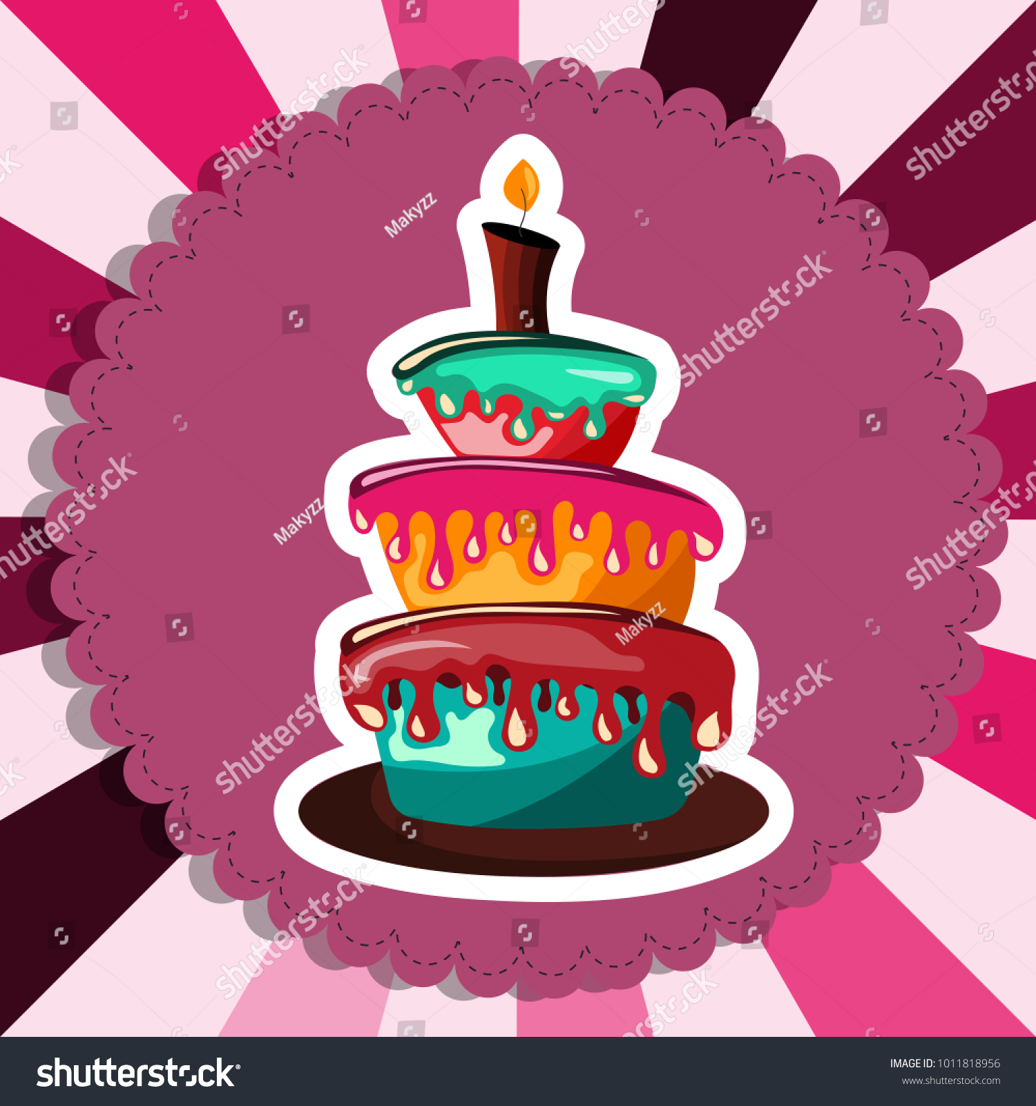 Birthday Card Cake Concept Birthdays Valentines Stock Vector