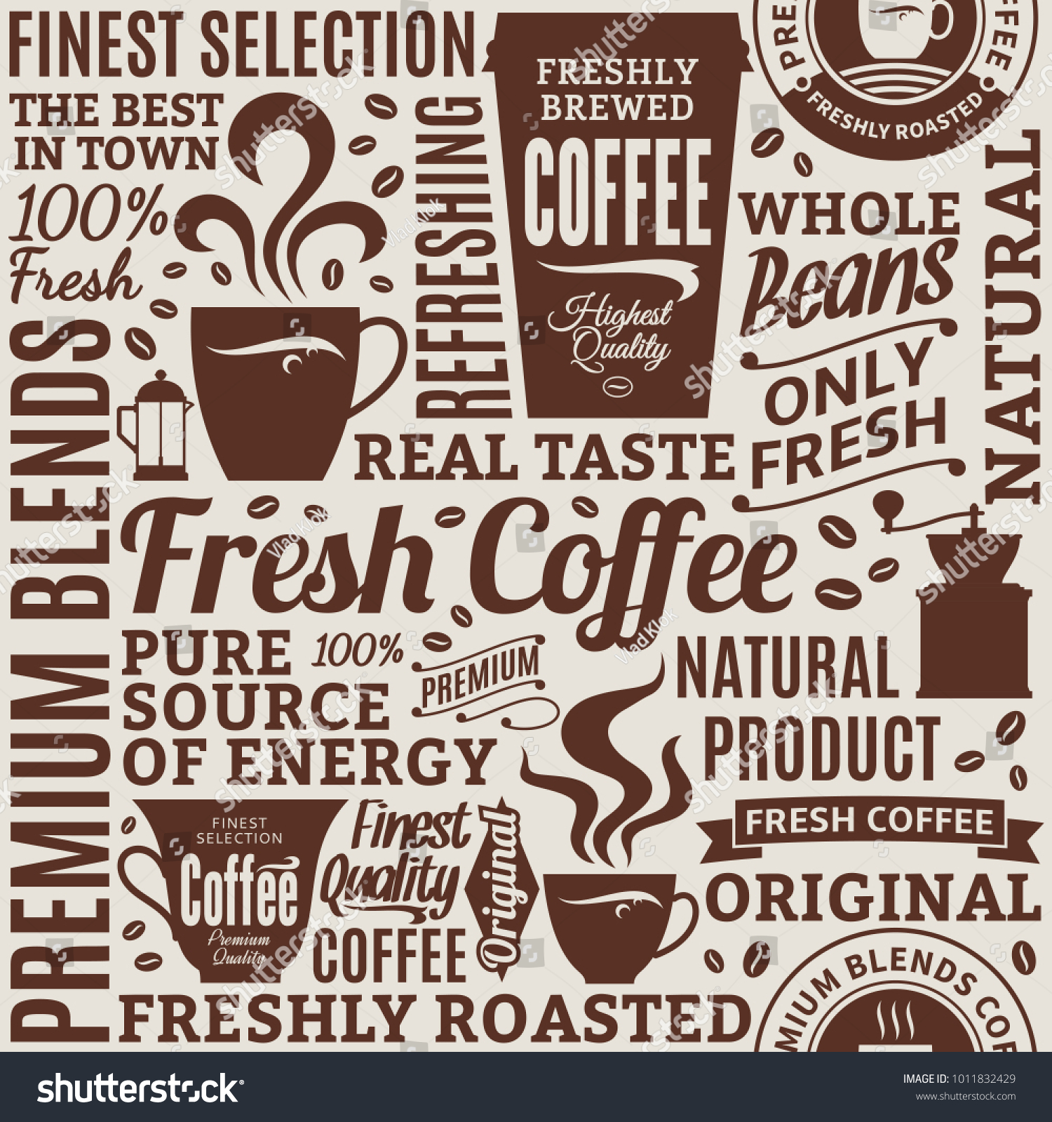 Typographic Vector Coffee Shop Seamless Pattern Stock Vector