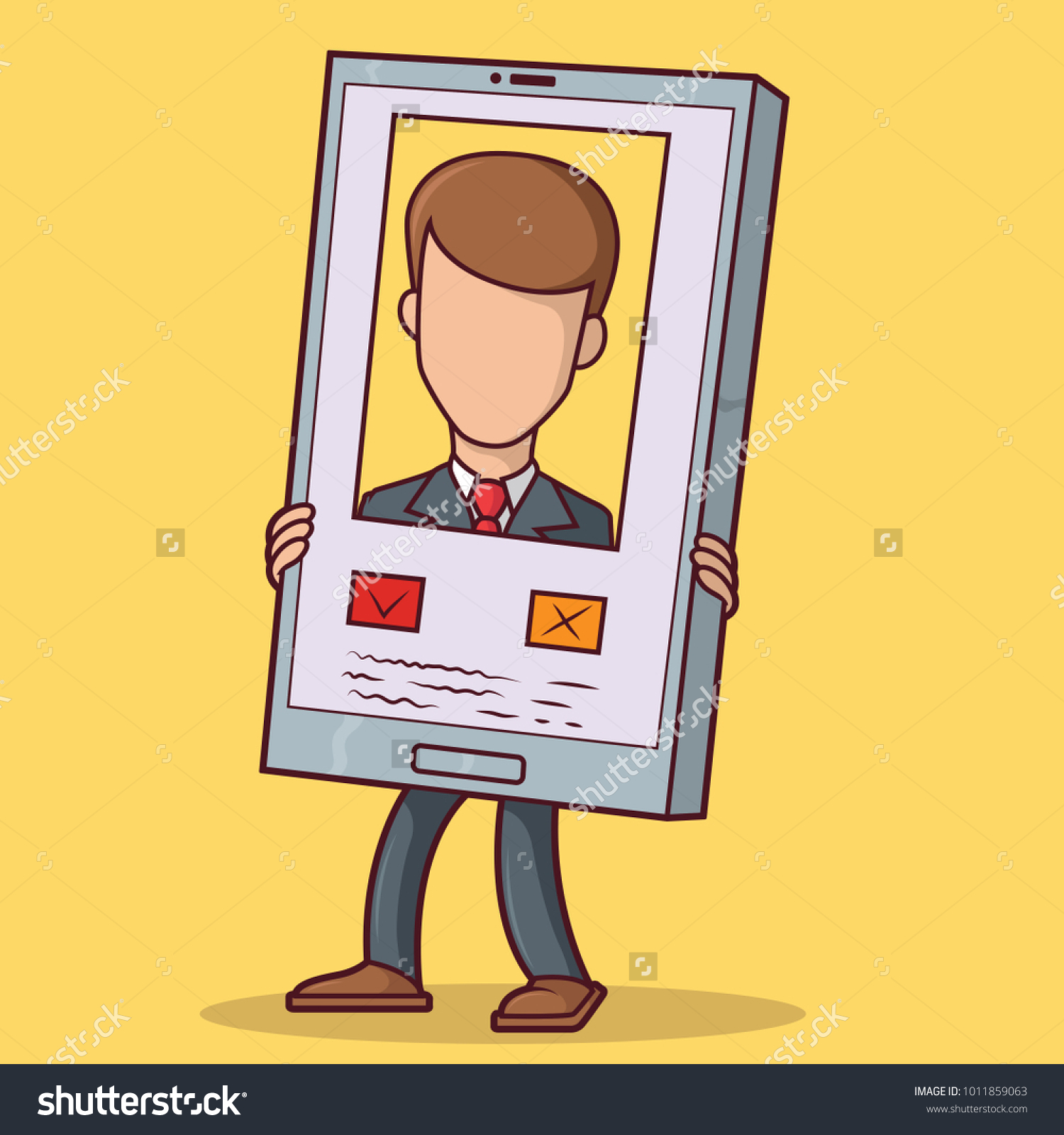 Man Holding Phone Showing Profile On Stock Vector (Royalty